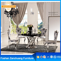 Baroque decoration artificial marble small kitchen spiral glass table