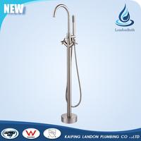 Brushed Nickel Floor Bathtub Freestanding Shower Set Bath Faucet