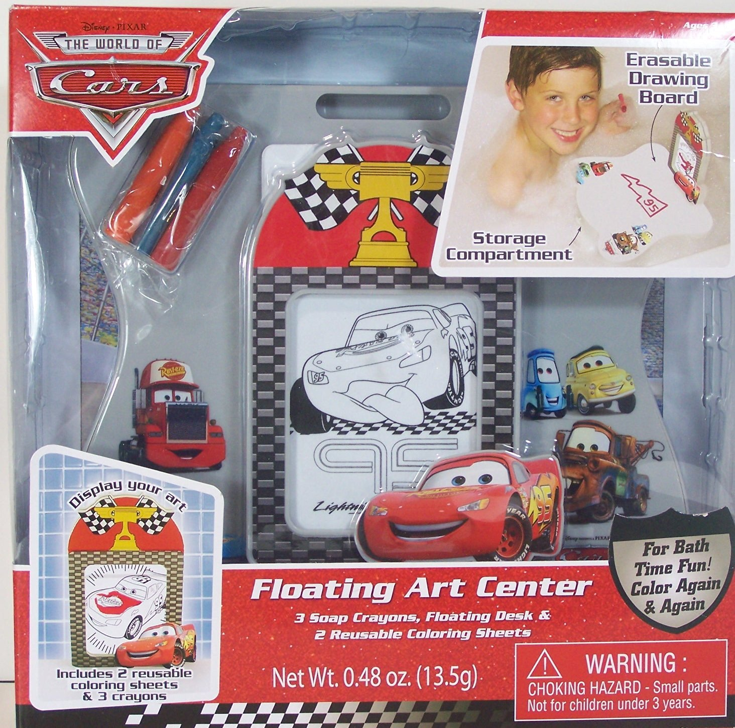 Disney Cars Bath Tub Floating Art Center (3 Crayons, Floating Desk, 2 Reusable Coloring Sheets) by MZB