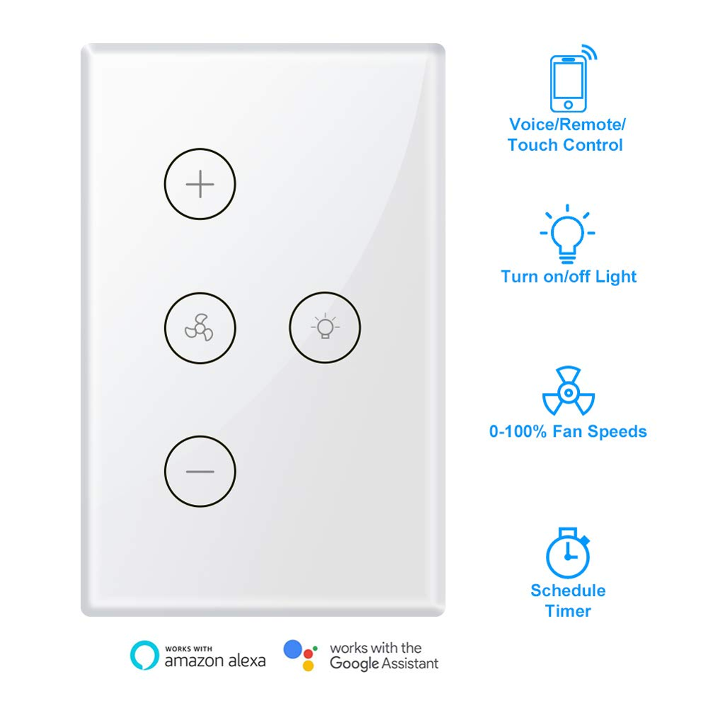 Smart WiFi Fan Light <strong>Switch</strong>, In-Wall Ceiling Fan Lamp <strong>Switch</strong> Works with Alexa, Google Home Assistant Voice/Remote/Touch Control