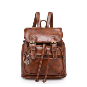 High Quality Vintage Plain Leather Backpack Bag Custom Designer Women Drawstring Backpack