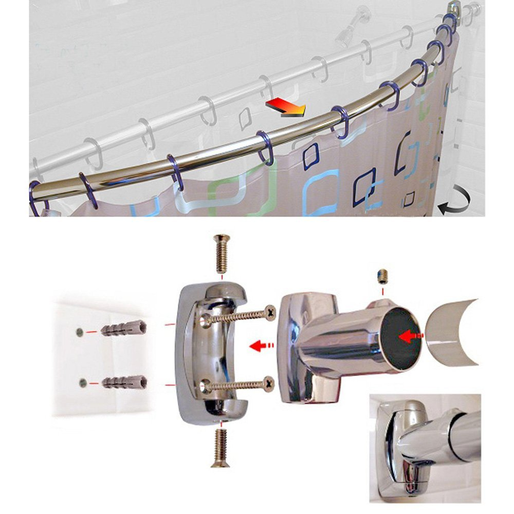 QJMAX Bathroom Accessory Curved Shower Curtain Rod