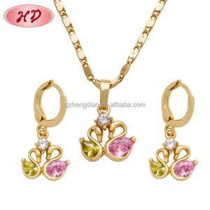 Wholesale fashion jewelry beautiful cubic zircon earring,necklace,pendant jewellery set with 18k gold plated for womens