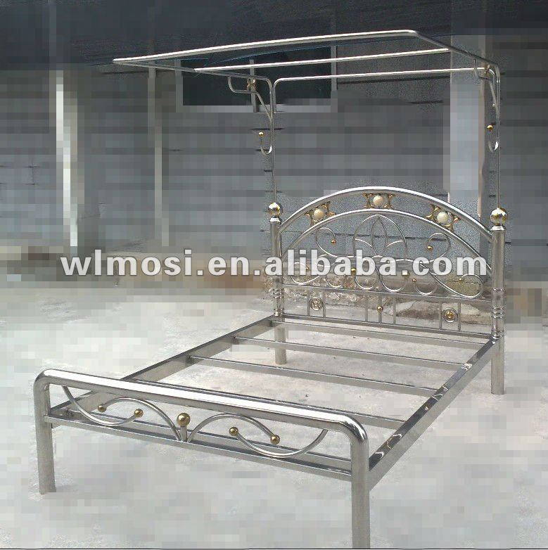 Single Stainless Steel Bed With Bed Frame - Buy Metal Bed,Stainless ...