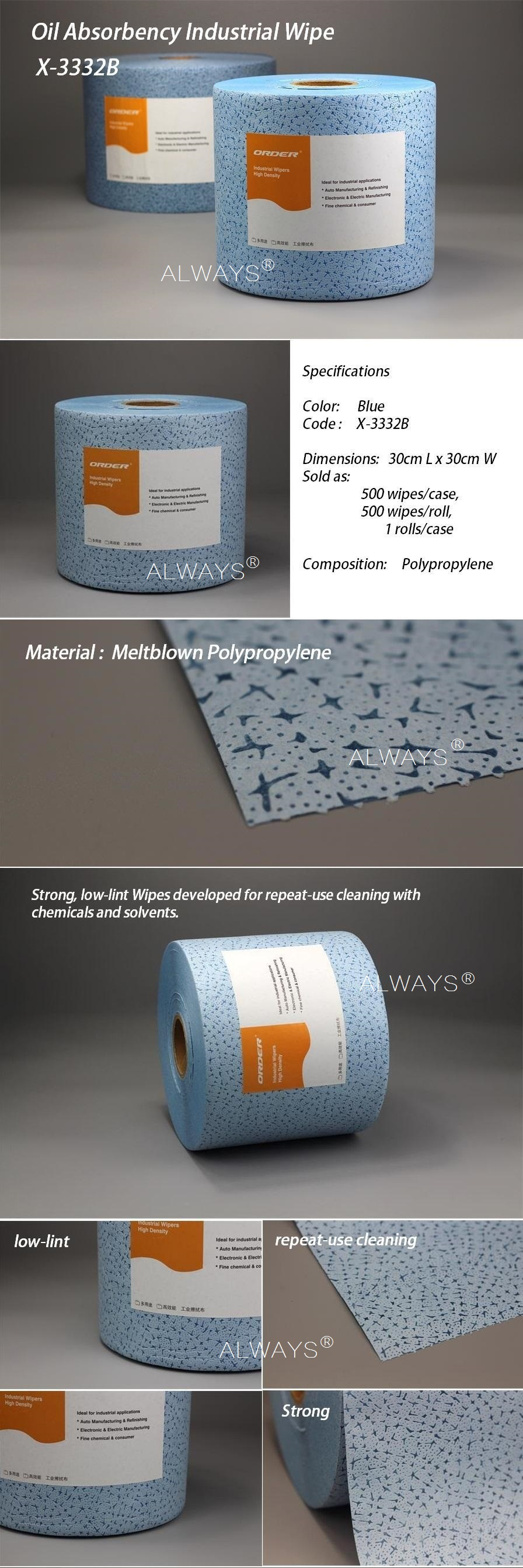 China Industrial use jumbo roll Blue meltblown Polypropylene nonwoven fabric cleaning cloth