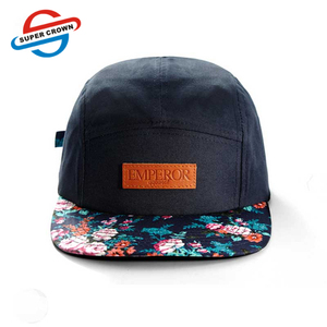 b0bdae1f3bc Guangzhou Factory Metal Eyelet Leather Patch Logo Hawaiian Flower Snapback  5 Panel Hat