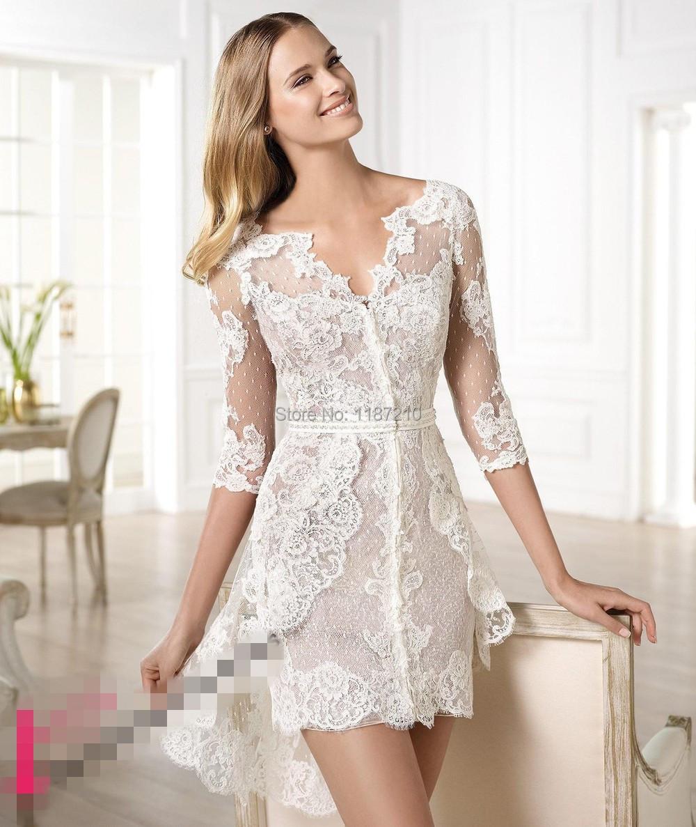 2015 Beautiful Sheer Lace Wedding Dresses V Neck Short