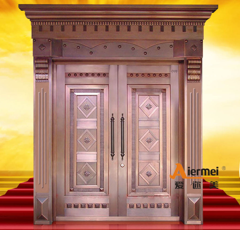 Security copper double door design main entrance door for Main door design latest