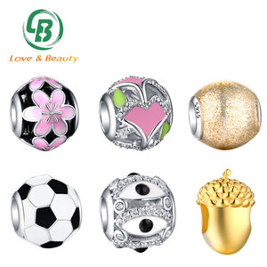 Custom jewellery round bracelet charms, wholesale 925 sterling silver charms bead