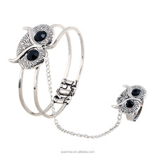 Maverick Hotselling Vintage Chic Zinc Flower Fox Owl Design Finger Chain Ring Cuff Bracelet Jewelry Set