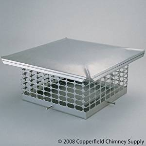 Chim Cap Corporation CCSS813 8 Inch x 13 Inch Chim Cap Stainless Forever Cap 3/4 Inch Mesh 24-ga. Lid 18-ga. Screen And Base