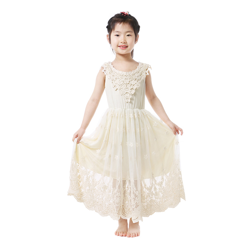 Rain Kids Little Girls Ivory Lace Dress Organza Flower Girl Dress