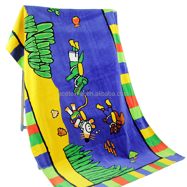 Full color printed Eco-friendly Personalized high quality baby bath beach towel