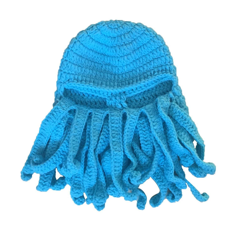 GQMART Wool Hat - New Handmade Knitting Wool Funny Beard Winter Octopus Hat&Cap Crochet Beanies Unisex Gift Blue