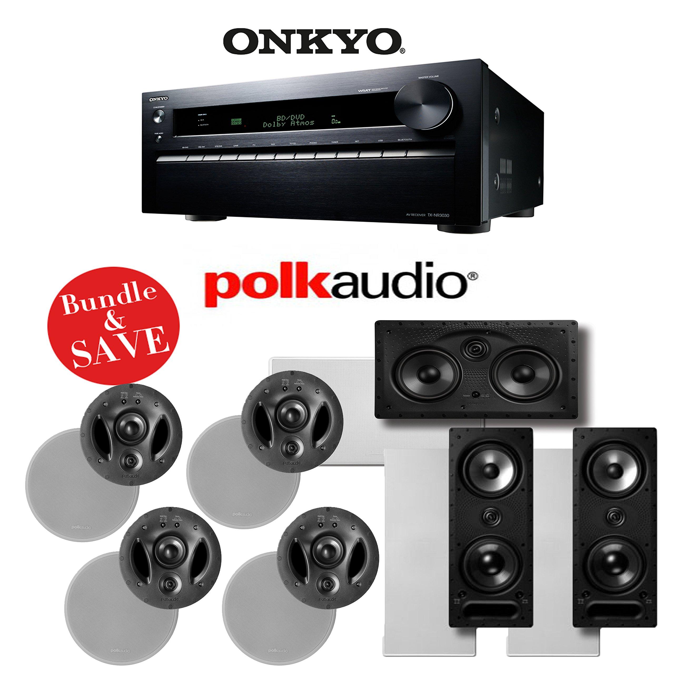 Onkyo TX-NR3030 11.2-Ch Networking A/V Receiver + (4) Polk Audio 900-LS In-Ceiling Speakers + (2) Polk Audio 265-LS In-Wall Speakers + (1) Polk Audio 255C-LS In-Wall Center Speaker - Bundle