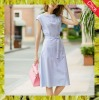 2016 new fashion light blue ladies casual stripe dress with belt