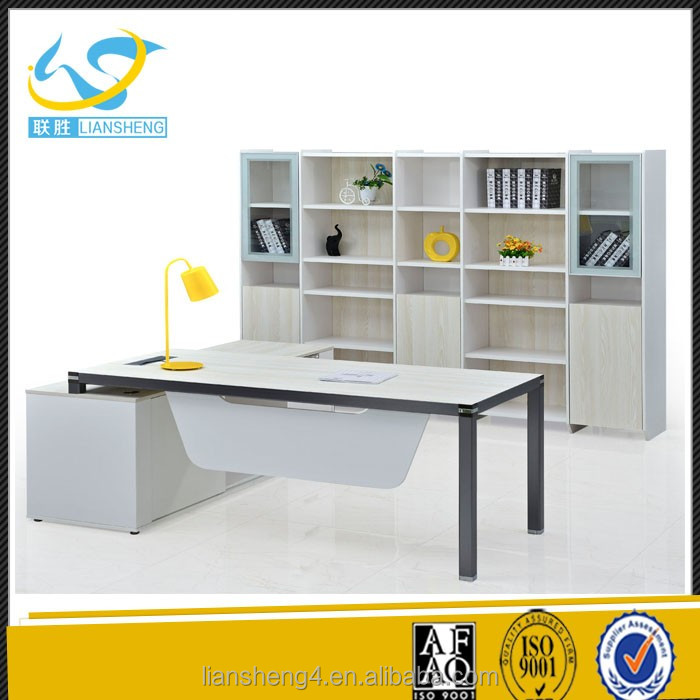 Newest front panel desk freestanding office desk with side return