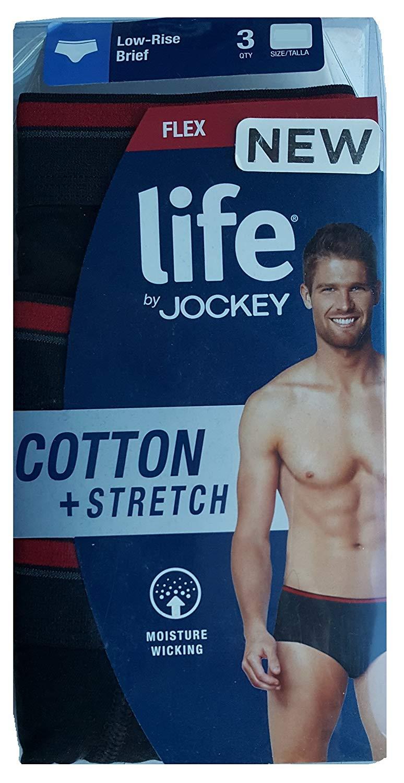 a53d605f8203 Jockey Life by 3-Pack Men's Flex Cotton Stretch Low-Rise Brief Underwear -