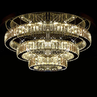 Modern luxury crystal LED brass lighting round chandelier home decoration