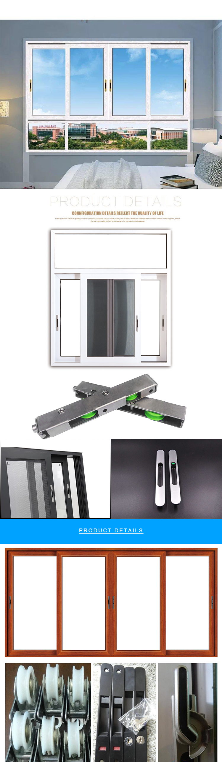 การออกแบบกรอบเชิงพาณิชย์ Window ตัวอย่างสไตล์ใหม่อลูมิเนียมเลื่อน Windows