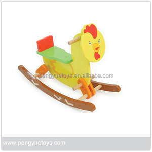 Big cock design wooden ride on toy game for kids
