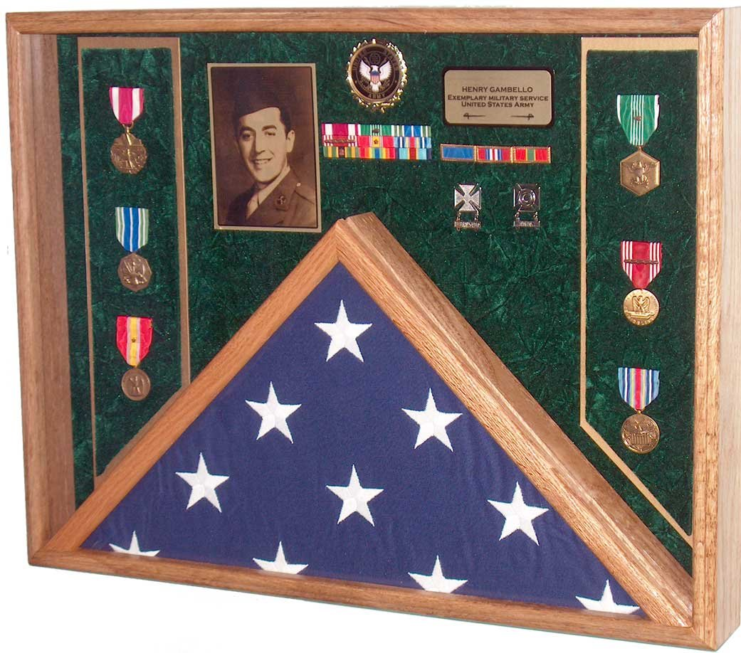 All American Gifts Military Veteran Soldier Flag & Medal Display Case Shadow Box for 5x9.5 Funeral Burial flag (Army Emblem/Green velvet)