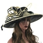 ABPF Wide Brim Ladies Sinamay Fabric Church Party Hats