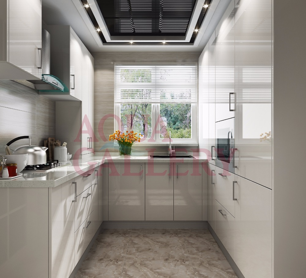 Newly Designed High Gloss Crystal Steel Board Kitchen Cabinet With Stove And Drawers