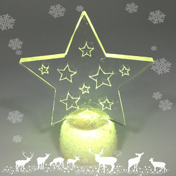Led Light Clear Acrylic Christmas Ornaments, Color Changing Christmas Acrylic Stars