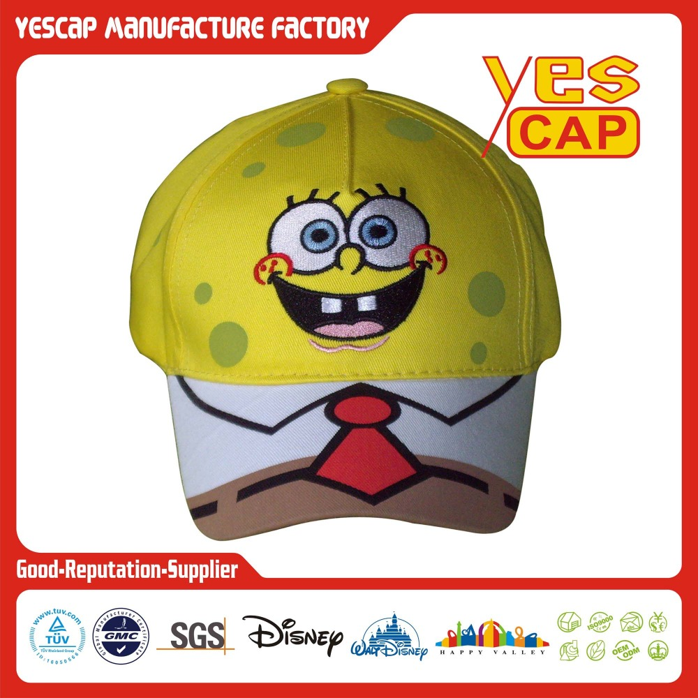 Gorras de béisbol de 5 paneles con bob esponja cartoon bordado hecho en China