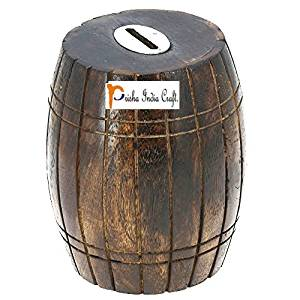 Prisha India Craft Handcrafted Barrel Shaped Wooden Money Box Safe Piggy Bank for Girls and Boys wooden money bank Coin Holder CHRISTMAS GIFT ITEM 3 X 3 X 4 Inch, Square Style