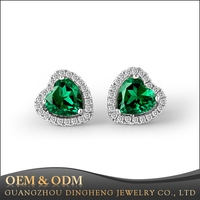 Fashion Jewelry Nano Emerald Stone Heart Shape 925 Sterling Silver Stud Earrings for Women