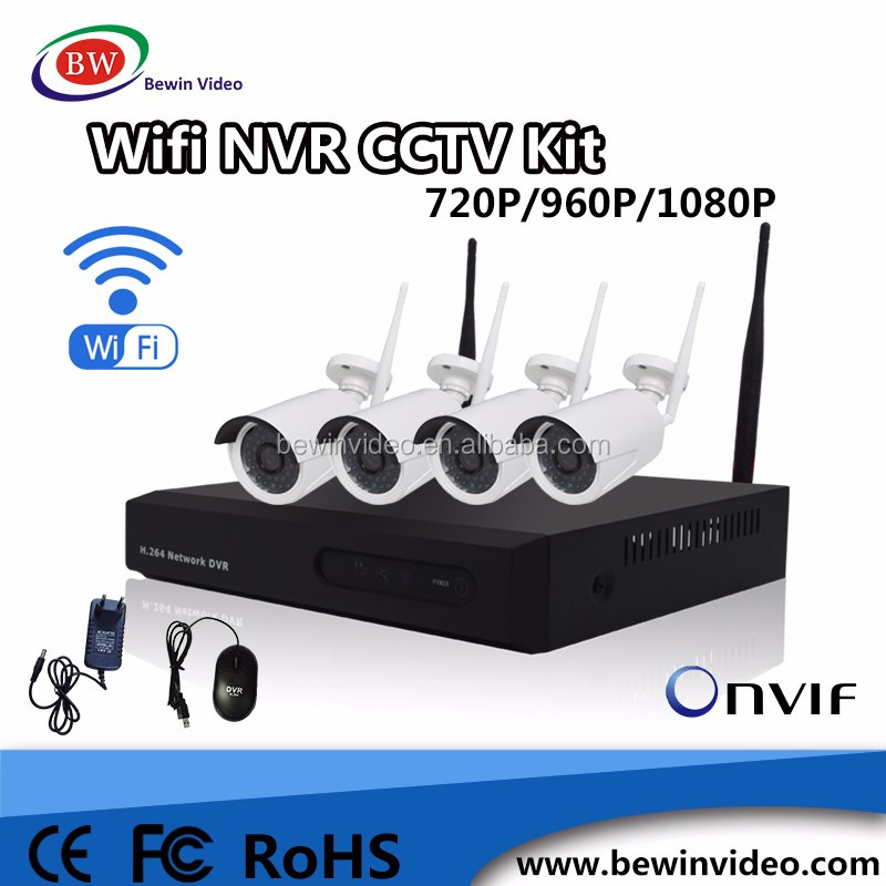 720P 4ch cctv camera systems wireless nvr kit,H.264 wifi ip camera with nvr kit