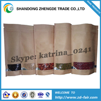 Stand Up Kraft Paper Bag With Window/Foil Lined Craft Paper Bag With Zipper Top