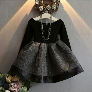 2017 Spring and Autumn New Korean Fashion For Girls Sweet O-Neck Long Sleeves Waist Sew A Charming Kid Girl Princess Dress
