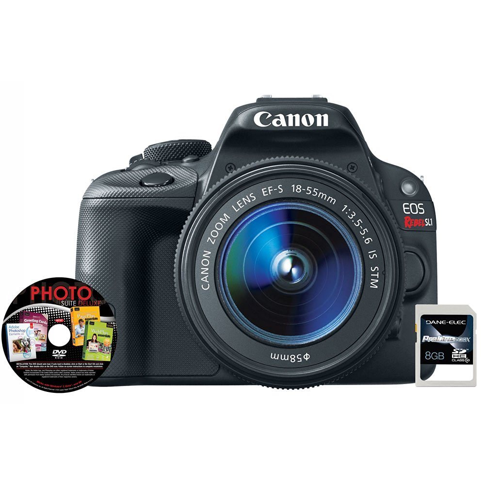 EOS Rebel SL1 18MP Digital SLR Camera and EF-S 18-55mm f/3.5-5.6 IS STM Lens, Photo Suite Deluxe Software and 8GB SDHC Card