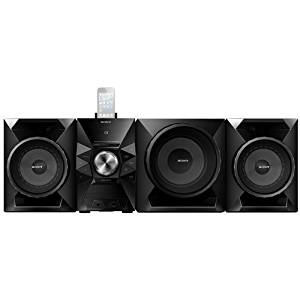 Sony 700 Watt All-In-One iPod & iPhone Hi-Fi Stereo Audio System with 8 Inch Subwoofer 8-pin Lighting Dock Connector, 2-Way Bass Reflex Speakers, Single Disc CD Player, USB Input, Front Auxiliary Inputs, AM/FM Radio With 30-Station Presets, EQ And Bass Boost, Clock With Sleep And Wake Timers, Black