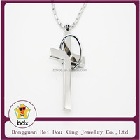 Furious Silver Unisex Gift Stainless Steel Cross with ring Pendant Necklace Chain
