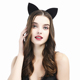 Lace ears bachelorette Black headband Hair accessory Ladies night party favors kitty cat ears costume head band DT099