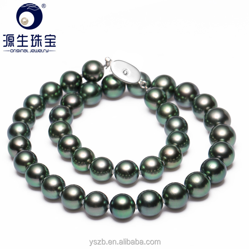 Hot genuine jewelry Tahitian pearl necklace with perfect round 9-11mm exellent luster