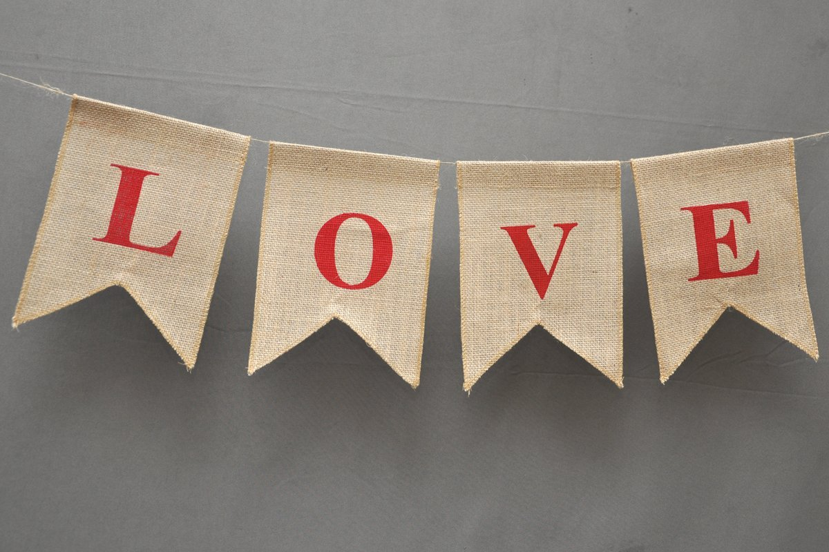 Buy Love Burlap Banner Wedding Flag Home Decor Valentine