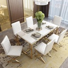 modern stainless steel glass home dining table and chair set cheap white dinning table set luxury dining room furniture set