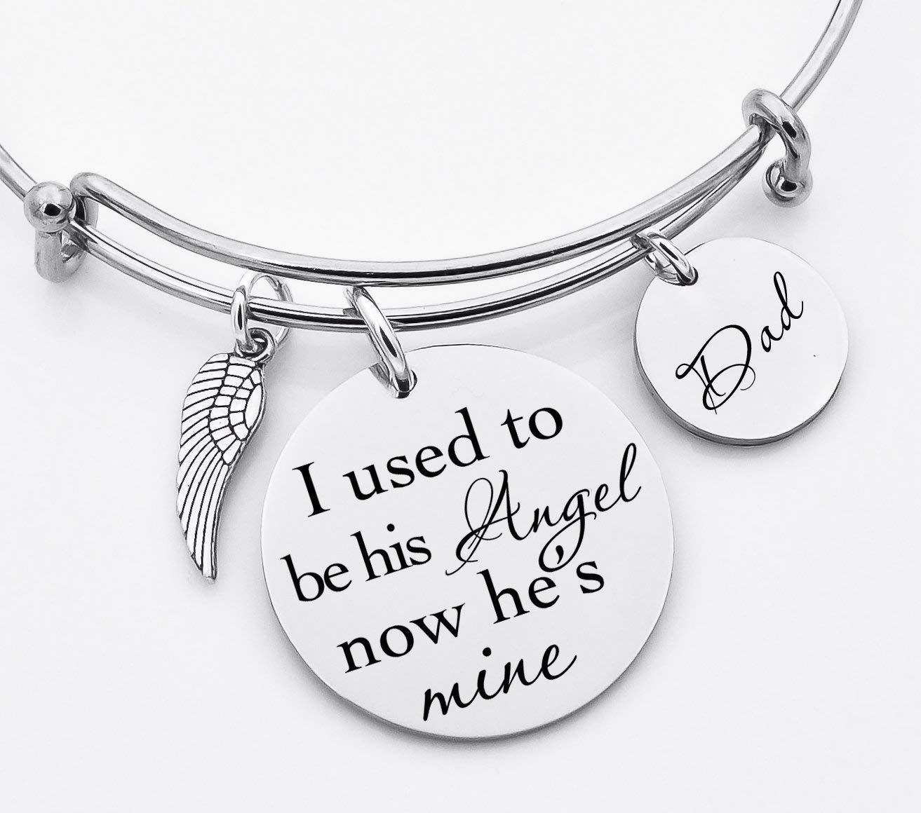 Memorial jewelry, I used to be his angel now he's mine bangle bracelet, stainless steel bangle, loss of loved one, sympathy gift, mom, dad, name, adjustable bangle bracelet.