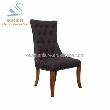 Superbe French Provincial Style Fabric Tufted Dining Chair With Ring Pull
