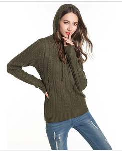 Knit Cable Embroidered Hooded Sweater For Ladies Women Custom Private Label Knitted Sweater