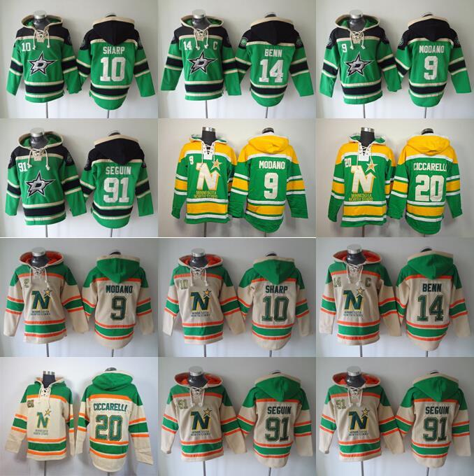 0bcea028136 get stitched nhl jersey dallas stars 9 mike modano 20 dino ciccarelli hockey  hooded dd130 a1c54