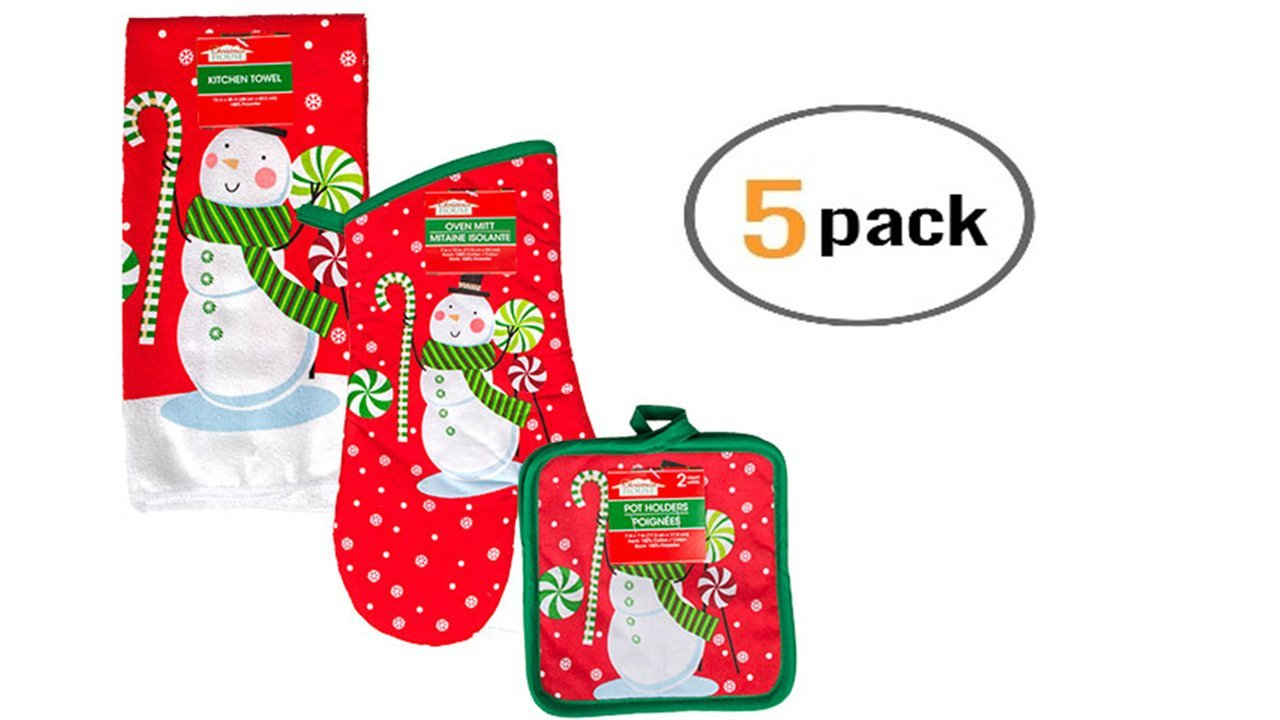 Snowman Kitchen Towels - Christmas Potholders (5 Pcs) Fun Snowman Kitchen Linens Add a Nice Touch of Holiday Decor to Your Kitchen - Holiday Oven Mitts