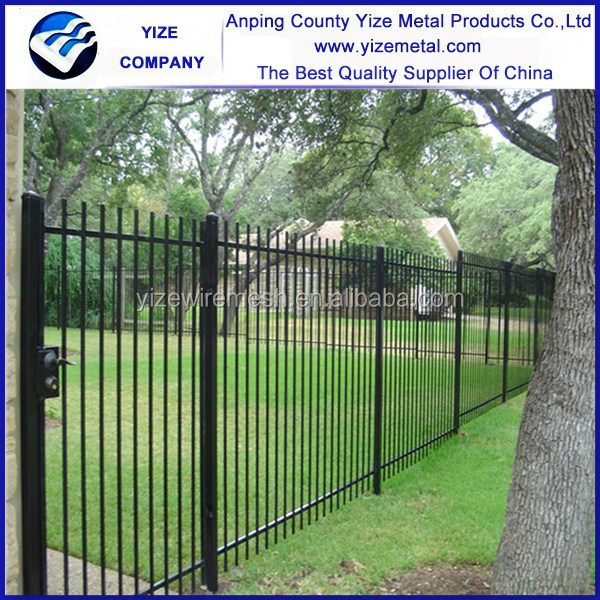 Outdoor decoration Application forged iron fence design wrought iron fence gate/Wrought Iron Fences With Spear Top