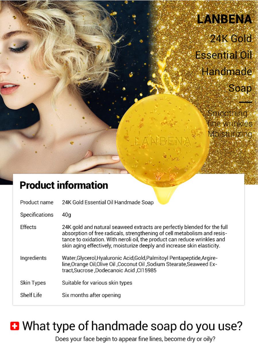 24K Gold Handmade Soap Essential Oils Seaweed Deep Cleansing Moisturizing  Nourishing Whitening Beauty Face Care