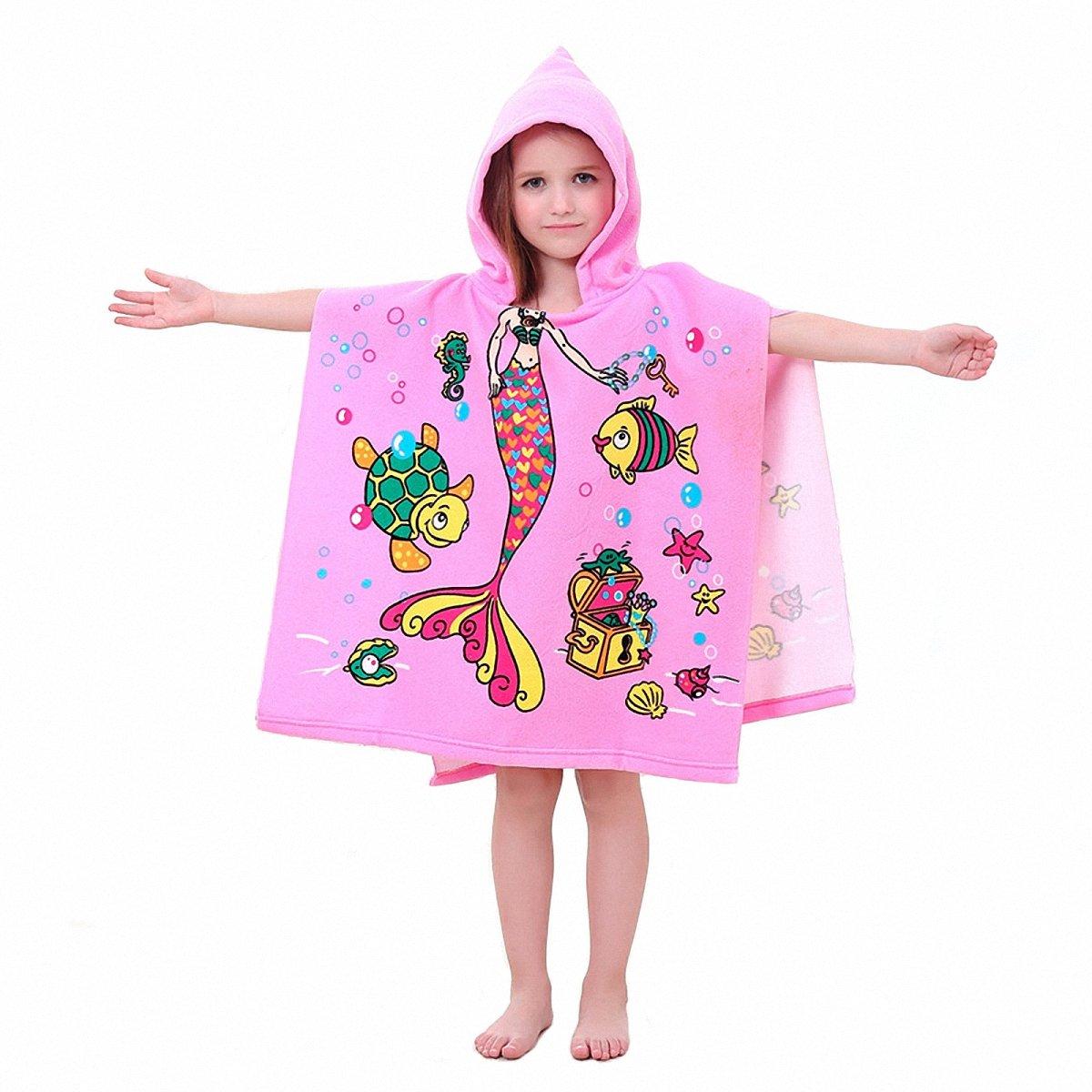 Hooded Towels for Kids Pink Mermaid Bath/Beach Child Towels